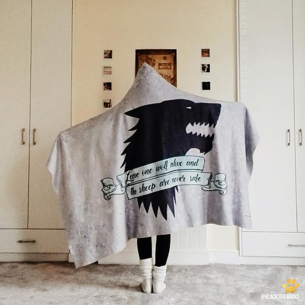 lone wolf emposia bookish hooded blanket for book lovers