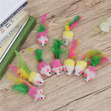 10 PCS Furry Pet Toys Mice Cat Toy Mouse Cat Catcher Toys with Feather Tails