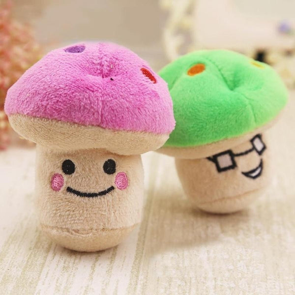 Green / Pink Mushroom Shape Plush Toy Cute Pet Cats Toys