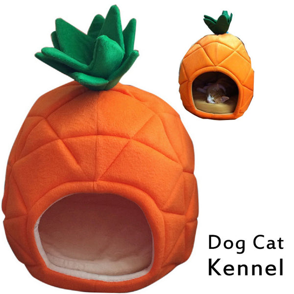 Cute Pineapple Shape Pet Cat House Foldable Soft Winter Dog Bed Cute Kennel Cat Bed