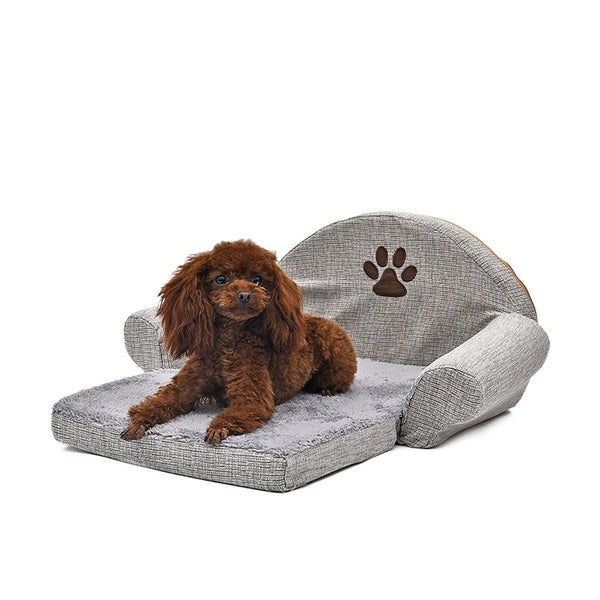 Dog Bed Soft Cushion Cute Paw Design Gray Color Collapsible Bed