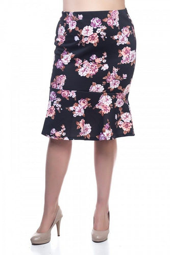 Plus Size - Floral Mermaid Skirt