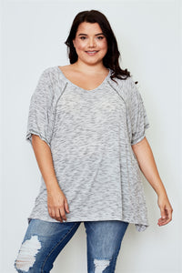 Plus Size - Drop Shoulder V-Neck Tunic Top