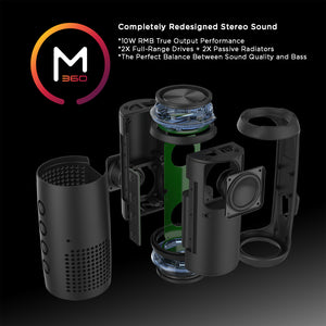 Morpheus 360® Sound-Ring II Wireless Portable Speaker, Bluetooth Speaker with Microphone, 25 Watts Loud, TWS, Deep Bass BT7750BLK
