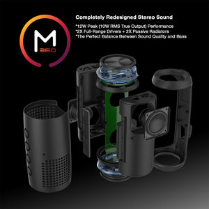 Morpheus 360® Sound-Ring Wireless Portable Speaker, Bluetooth Speaker with Microphone, 12 Watts Loud, Deep Bass, Dual Pairing, Waterproof, IPX6, Rugged, Outdoors, TWS, LED's, BT5750BLK