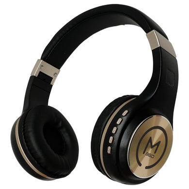 Morpheus 360 SERENITY Wireless Over-the-Ear Headphones Bluetooth 5.0 Hi-Fi Stereo Wireless Headset with Microphone Foldable HP5500G Black Gold