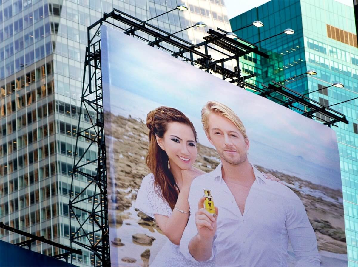 Alvi Tan and Fabio Grangeon featured on a giant billboard, contact us, Alvi Beauty Care,  buy argan oil malaysia, argan oil online, best argan oil for face, best argan oil for skin, best argan oil for hair