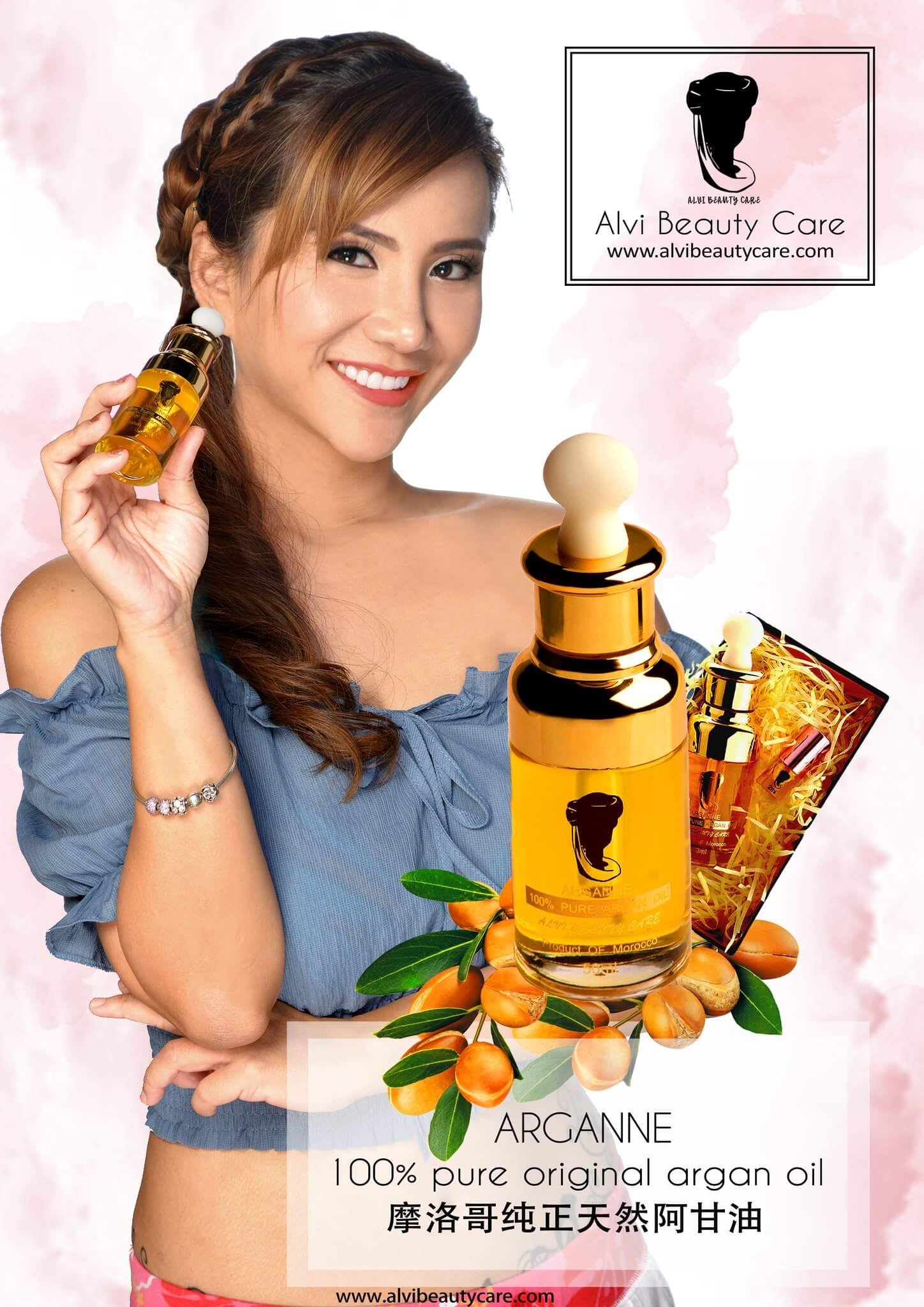 Brand Ambassador Alvi Tan (LV Tan) holding a bottle of Arganne 100% Pure Argan Oil, Malaysia, buy argan oil malaysia, argan oil online, best argan oil, best argan oil for skin, argan oil ingredients, amazing benefits of Arganne 100% Pure Argan Oil, imported from Morocco