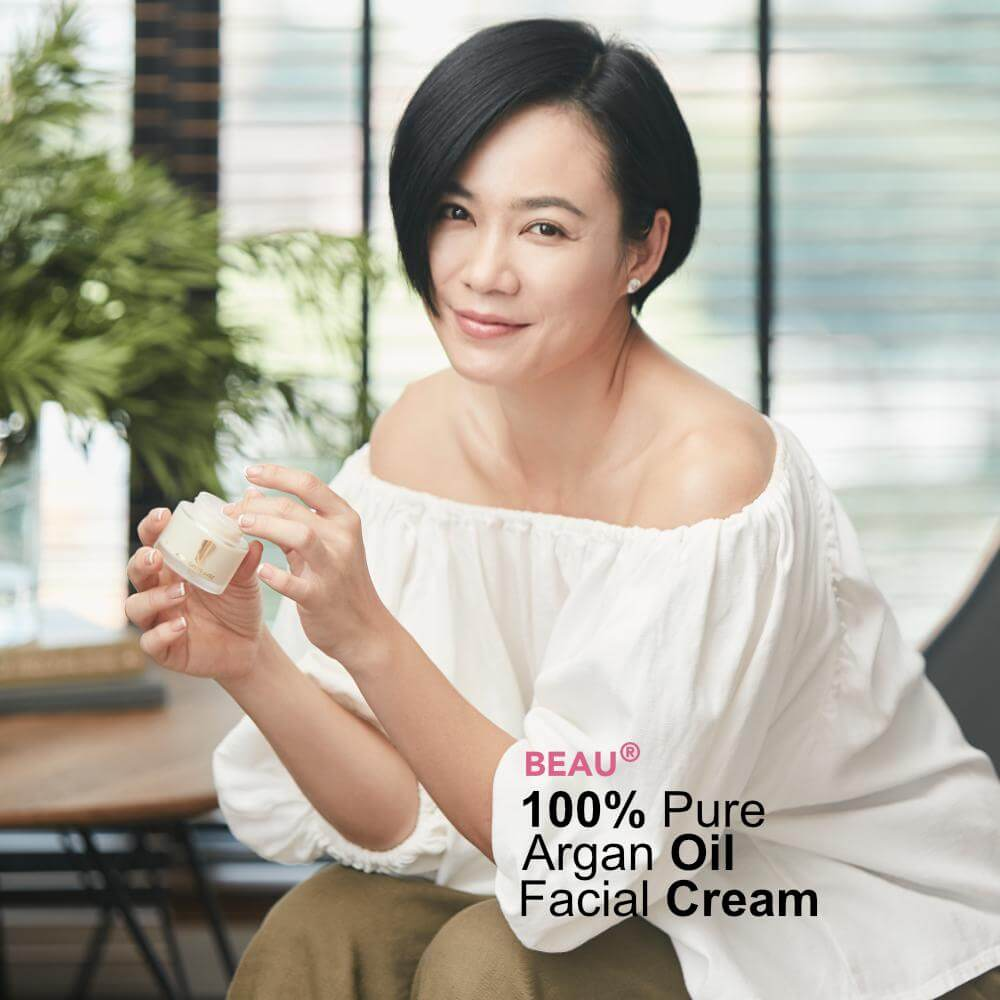 Yeo Yann Yann holding a jar of Beau Facial Day Cream, Why Choose Us, Bus Stop Advertisement, buy argan oil malaysia, argan oil online, best argan oil, best argan oil for skin, argan oil ingredients, amazing benefits of Arganne 100% Pure Argan Oil, imported from Morocco