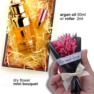 Argan Oil 50ml and Mini Roller 2ml with Dry Flower Mini Bouquet.