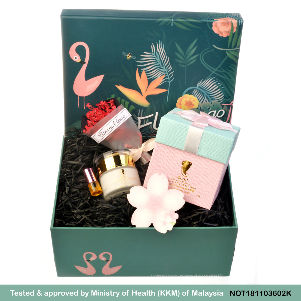 Argan Oil BEAU 100% Pure Organic, Facial Cream Flamingo Gift Set, 宝儿纯正阿甘油脸霜 (Flamingo 礼盒装)