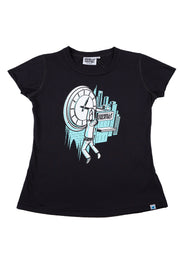 Girls T-Shirt Time Print Black