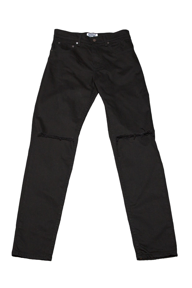 Mens Slim Jeans Black Ripped