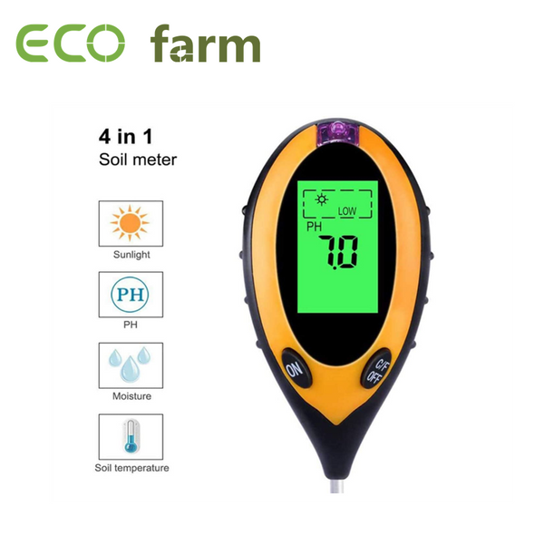 ECO Farm 4-in-1 Soil PH Tester Soil Moisture Sensor LCD Display For Household