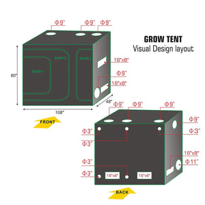 Eco Farm 9*4FT(108*48*80 Inch/270*120*200CM) 600D Hydroponic 2-in-1 Indoor Grow Tent