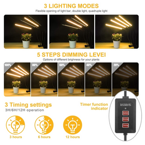 ECO Farm 80W LED Grow Light Four Head Timing 5 Dimmable Level for Indoor Plant Full Spectrum with Adjustable Goosencck