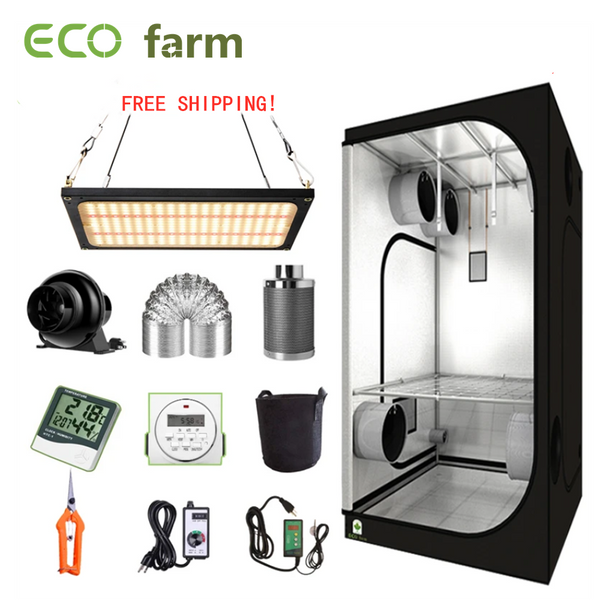 ECO Farm 2'x2' Complete Grow Tent Kit - 120W LM301B White And Red Light Quantum Board