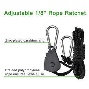 "ECO Farm 1/8""(3mm) Adjustable Rope Ratchet Light Hanger"