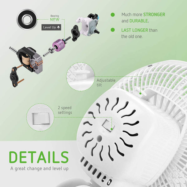 VIVOSUN 6 Inch Clip on Oscillating Fan Fit for 0.59 to 1 Inch Grow Tent With 2 Speed Control