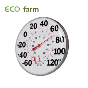 "ECO Farm Hydroponic indoor 12"" Thermometer Humidity Gauge"