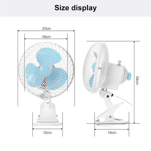 ECO Farm 6 Inch Mini Electric Clip Fan Oscillating Clip 3 Speed Control Fan For Grow Tent