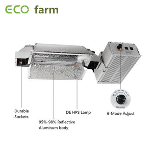 ECO Farm 1000W Dimmable 97% Reflective Hydroponic Fixture Double Ended HPS Plant Grow Lights