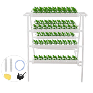 Hydroponic Grow Kit 8 Pipes 4 Layers 72 Plant Sites Food Grade System Melons