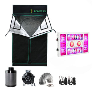 ECO Farm 4*4FT (48*48 Inch/ 120*120 CM) Essential LED DIY Grow Package Hydroponics Indoor Planting System for 4 Plants-X6
