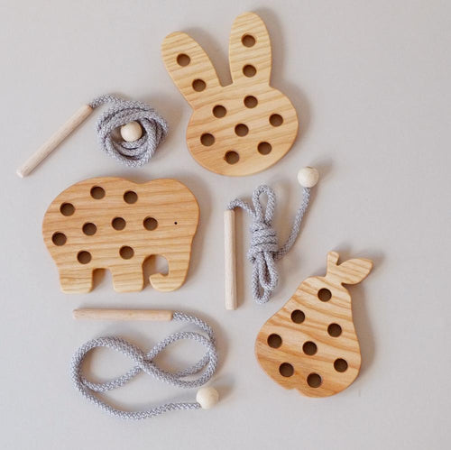 Wooden Lacing Toys Blossom & Bear Small Stuff UK