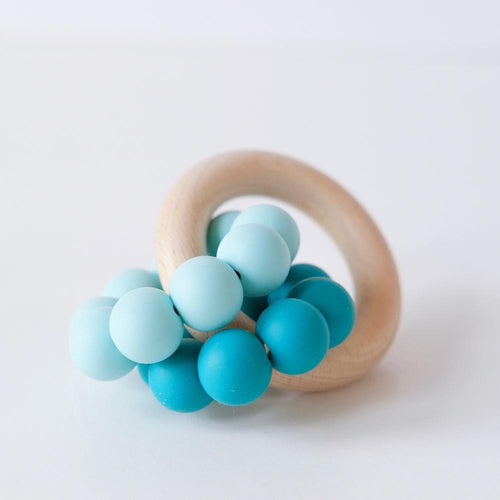 Teal Ombre Silicone Teething Ring Toy Blossom & Bear Small Stuff UK