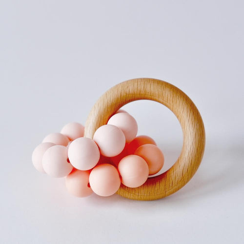Peach Ombre Silicone Teething Ring Toy Blossom & Bear Small Stuff UK