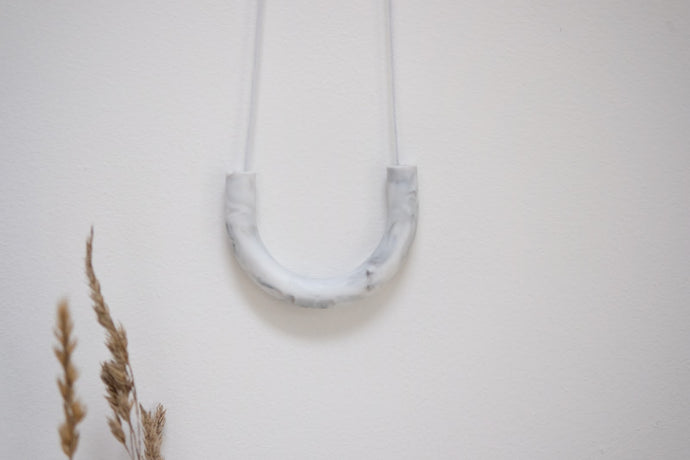 Teething Necklace - Plain Grey Marble