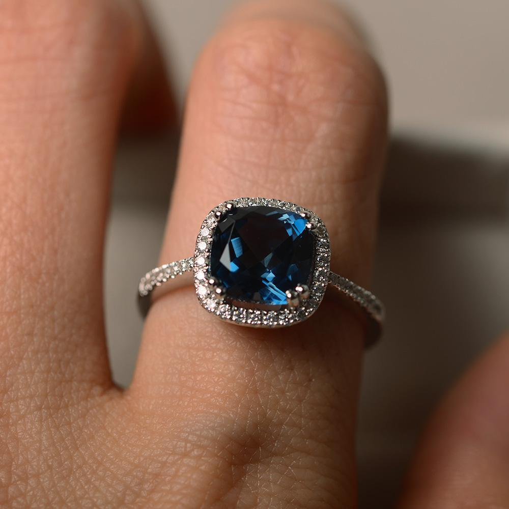 sterling silver cushion cut engagement ring blue gemstone ring London blue topaz ring halo ring