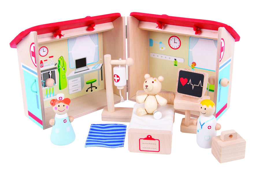 Mini Wooden Hospital Playset
