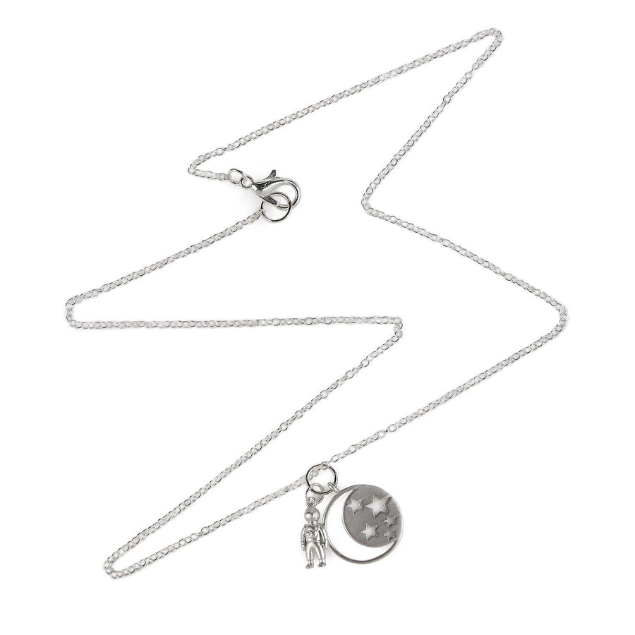 Silver necklace with astronaut and moon charms 1