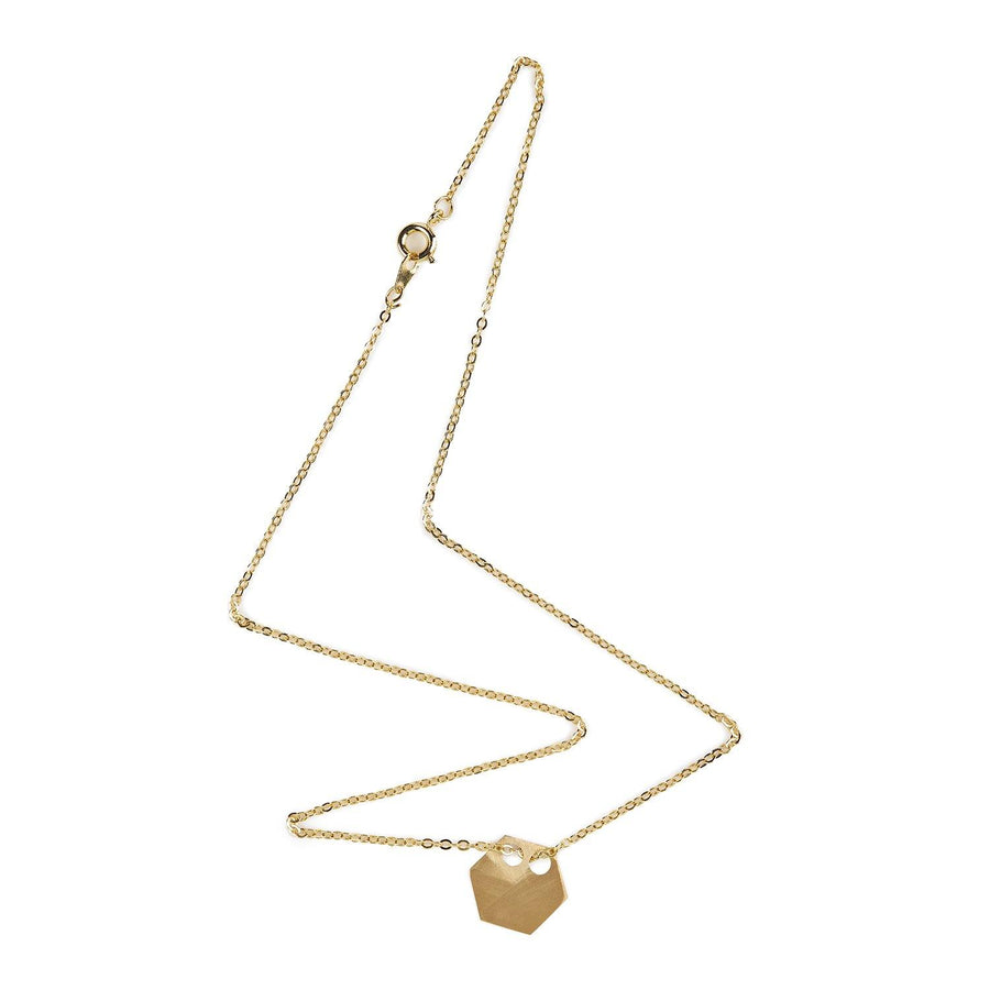 Gold hexagon necklace 3