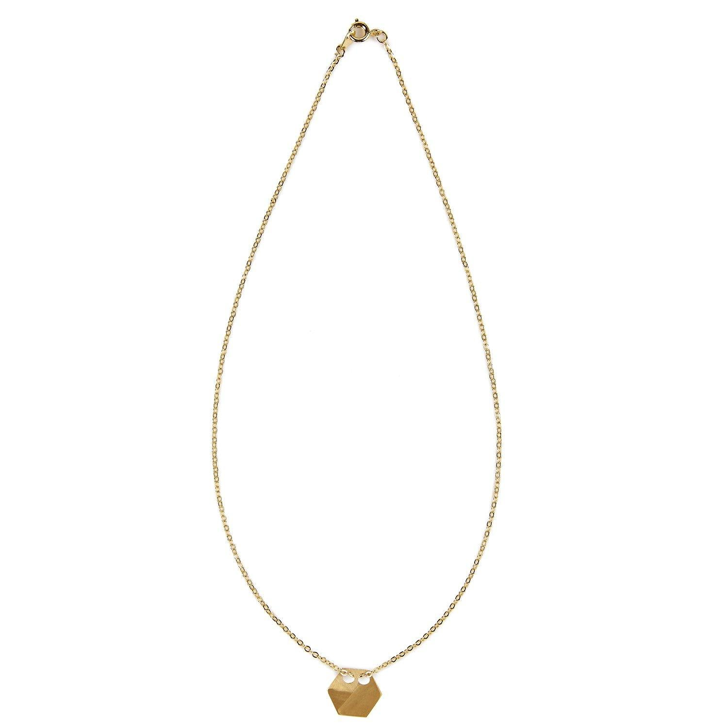 Gold hexagon necklace 1