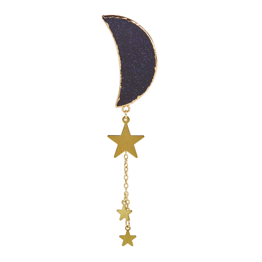 Eclectic Eccentricity X Science Museum Crescent Moon Blue Goldstone Brooch