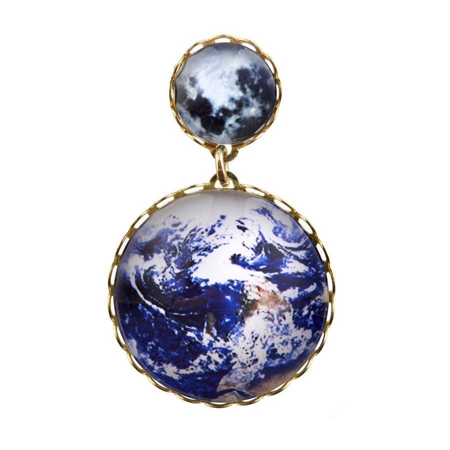 Eclectic Eccentricity X Science Museum Earth and Moon Glass Brooch