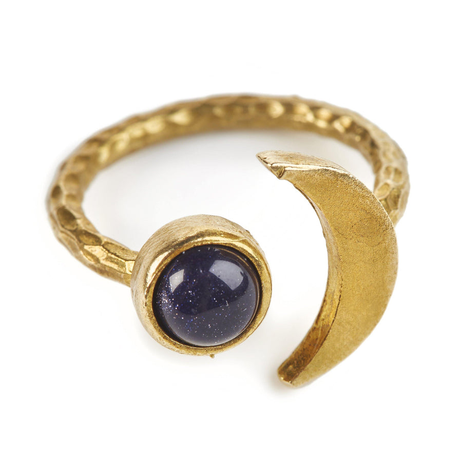 LDN Ring Crescent Moon Goldstone/Blue Goldstone