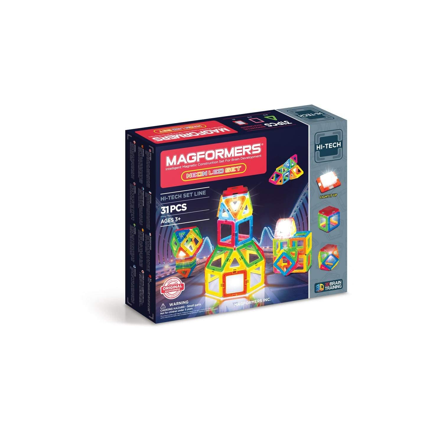 Neon LED Magformers Set
