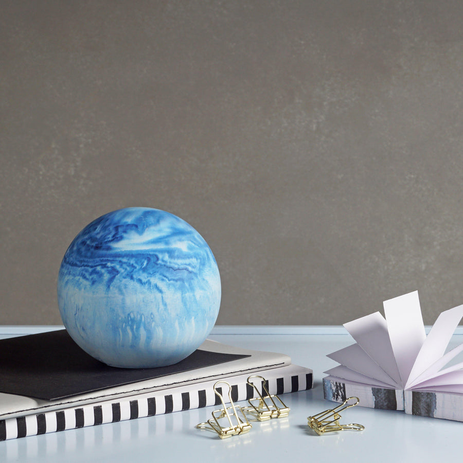 Large blue planet paperweight 3