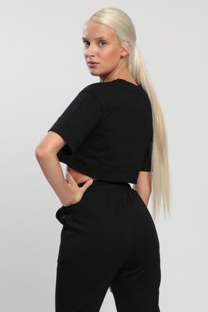 Black Balance Cropped Shirt