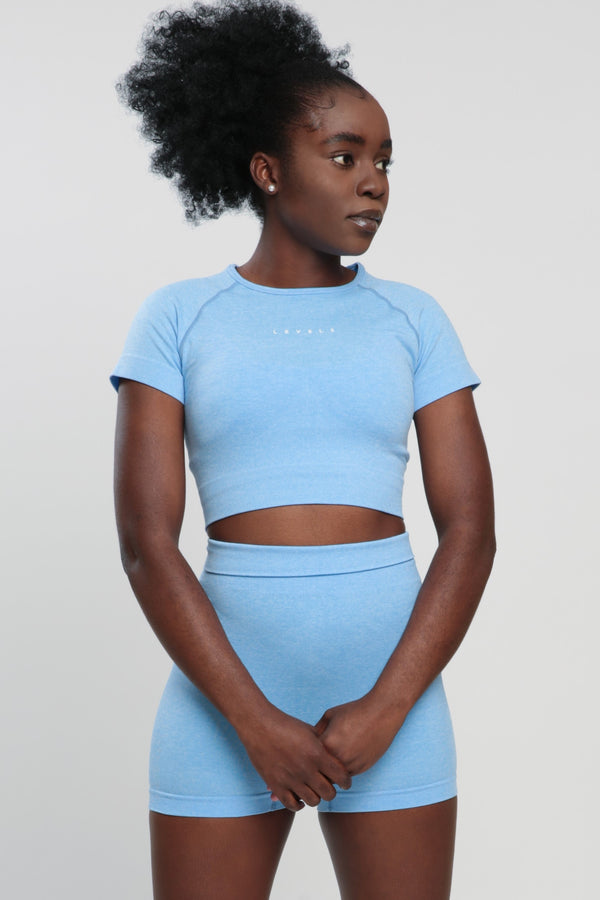 Blue Blessed Crop Top