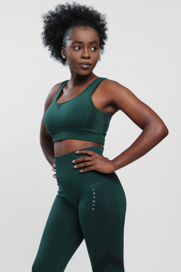 Dark Green Effect Sports Bra