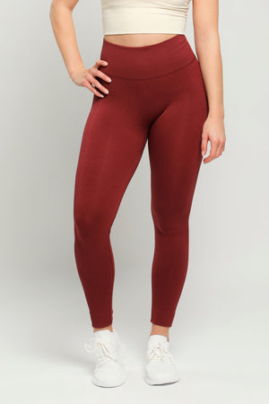 Dark Red Energy High Waisted Leggings