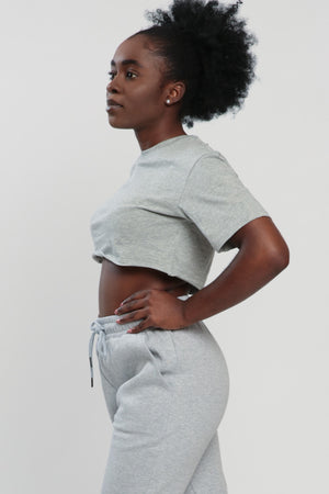 Gray Balance Cropped Shirt