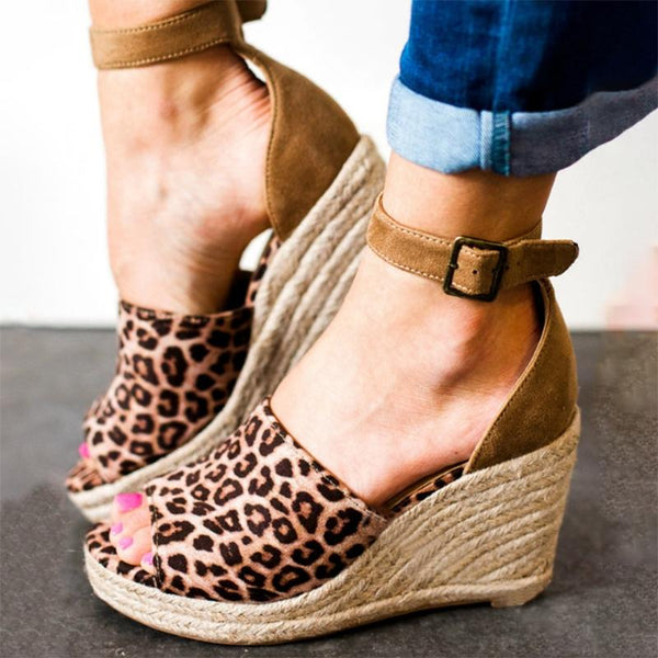 Shoes - 2018 Summer Hot Sale Leopard Wedge High Heels Comfortable Rome Shoes