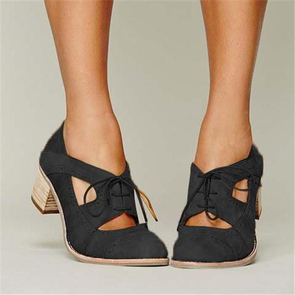 Shoes - Cutout Lace-up Low Heel Oxford Shoes