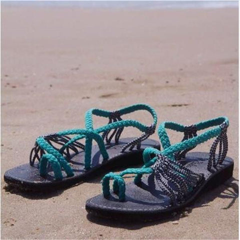 2019 Handmade Breathable Bandage Beach Flat Sandals